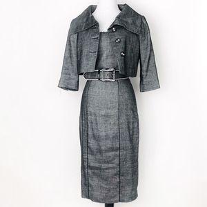 bebe • linen belted midi pencil dress + jacket set
